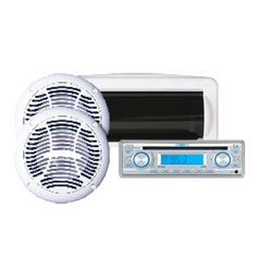 "Jensen AM/FM/CD Stereo Package with Aux-in: includes 6.5"" Speakers and Waterproof Housing"