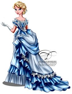 Vintage Ballgown - Elsa by tiffanymarsou on DeviantArt Disney Princes Funny, All Disney Princesses, Disney Princess Drawings, Disney Princess Art, Disney Nerd, Vintage Princess, Disney Marvel, Disney Films, Disney Fan Art