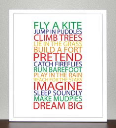 Prints for kids- BE A KID - Primary and Secondary colors - 8x10 Poster. $20.00, via Etsy.