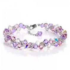 Amazing Purple Color Water-Drop Women's Crystal Bracelet With 925 Sterling Siver