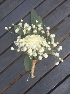 Simple rustic look gyp and rose buttonhole, finished with string for a rustic shabby chic look