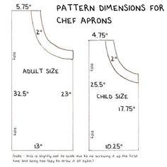 Adjustable chef's apron pattern