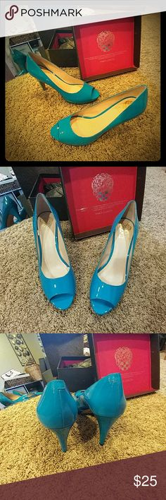 Vince Camuto Heels Brand new....with box and original tissue packaging!!!  Beautiful shiny sky blue patent leather with peep toes!!  4 in. heels.  Tan bottoms stamped for authenticity.   Stunning!!!!  Thanks. :) Vince Camuto Shoes