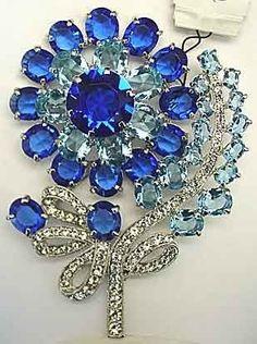 #Eisenberg #Floral #Sapphire #AquaMarine #Diamond #Brooch #Pins #Jewellery