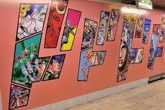 JoJo's Bizarre Adventure mural at the Shibuya Station in Japan