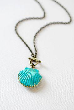 Mermaids Locket Shell Locket Necklace. Gold Brass by LeChaim