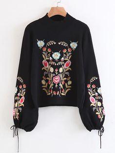 Sweater manche lanterne brodé des fleurs avec un lacet -French SheIn(Sheinside)
