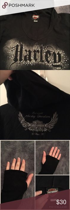 """Harley Davidson Thermal Hoodie - See All Pics Authentic Harley Davidson Comfortable and warm thermal hoodie. Thumb cut outs for mitten effect (see pic 2). """"Harley""""in front with rhinestones. Harley Davidson official logo on the back as shown in pic. Used once. Size small. Easily fits a medium as well. Pic 3 shows the length of the sweatshirt. Harley-Davidson Sweaters"""