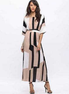 Cotton Color Block Half Sleeve Maxi A-line Dress Modest Fashion, Women's Fashion Dresses, Hijab Fashion, Lilac Wedding Dresses, Frocks For Girls, Affordable Dresses, Up Girl, Cut And Style, Buy Dress