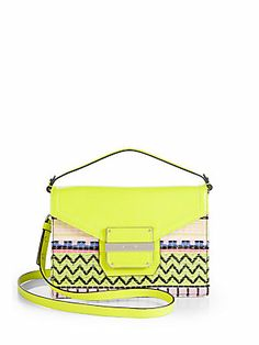 Cool pattern and neon color! Milly Rich Neon Jacquard Crossbody Bag
