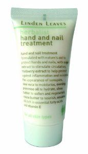 Linden Leaves Herbalist Hand and Nail Treatment Travel Kit by Linden Leaves. $7.00. Handy travel size. Contains aloe vera to moisturize, soothe and minimize irritation, evening primrose oil to nourish and hydrate. Apply frequently to dry hands to strengthen nails, protect and moisturize paraben free. Formulated with a blend of sage extract to stimulate circulation, mulberry extract to minimize sun spots and reduce inflammation. Shea butter with anti-oxidant properties ...