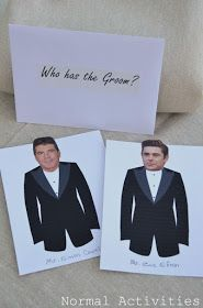 """""""Who has the groom?""""  Did this for my daughter's bridal shower and used faces of actors my daughter liked along with her fiance's pic. - everyone loved it!"""