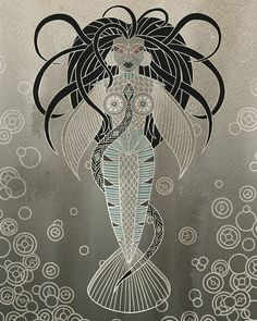"""regram @nubiamancy """"Mami Wata"""" illustrated by @abihey PLEASE TAG THE ARTIST WHEN REPOSTING THIS ART ON YOUR PAGE ARTIST COMMENTARY: Mami Wata is an African deity revered in a number of African countries the Caribbean and parts of North and South America. They have a shrine to her at theHorniman MuseuminSouth London; that's where I first learnt about her. . Sheis basically a mermaid; half fish half beautiful woman. Mami Wata is a water goddess associated with rivers and seas and often…"""