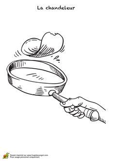 Coloriage d'une main qui est en train de faire tourner une crêpe dans la poêle.