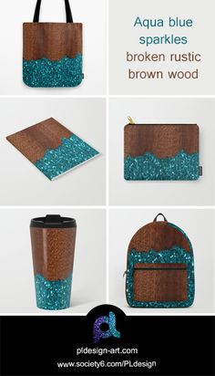 Unique accessories! Aqua blue sparkles broken rustic brown wood tote bag, notebook, carry-all pouch, travel mug, backpack and more by #PLdesign #sparkles #bluesparkles #style #society6