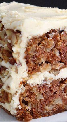 Apple Cake with Maple Buttercream and Pecan Trim Recipe | edited recipe: 1.5 c sugar, 1/2c oil, 1/2c applesauce, walnuts