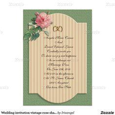 "Wedding invitation vintage rose shabby chic 5"" x 7"" invitation card"