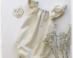 Beige Ivory linen Lola Romper , baby beige natural linen romper, baby picture outfit linen playsuit toddlers boho romper Baby girl outfits r