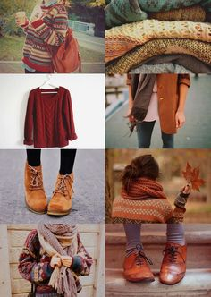 Fall Essential #2  Burnt orange knitted sweater with cute pattern