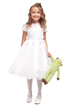 d8fe81b55 Flower Girl Dresses - Communion Dresses - Flower Girl Dresses Discount  Cheap Designer Dressforless - - White Organza Dress with Lace Bodice