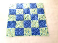 Darling baby quilt, Seahorse, Blue and Green