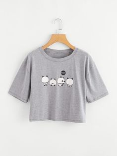 Panda Print Crop TeeFor Women-romwe