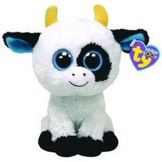 "10 "" Ty Beanie Boo's Baby Black White Cow ""Daisy"" Barnyard Stuffed Animal Toy 