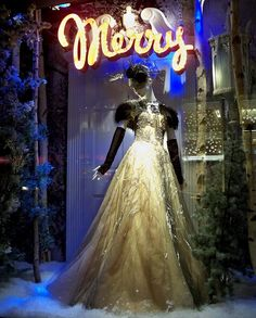 Merry (night) | Bergdorf Goodman Christmas window display.