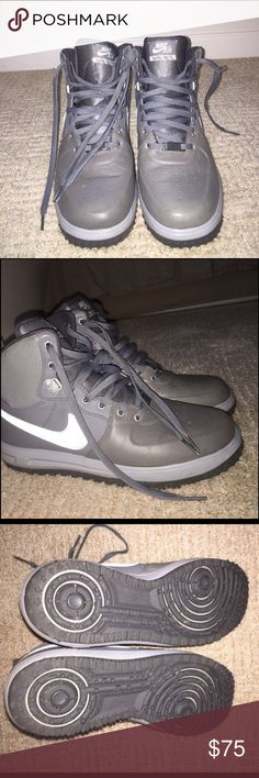 Men Nike AF1 Lunar Force1 Grey leather  watershield Nike sneaker. Only used a a few times and some scuff in the back. Good condition Nike Shoes Sneakers