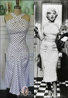 *-*Marilyn Monroe Dress-Seven Year Itch-Wiggle Hallway Dress-Polka Dot Pinup--Custom Made to Size on Etsy, $210.00: Summer Dresses, Marilyn Monroe Dresses, Itch Wiggle Hallways, Monroe Dresses Seven, Dresses Seven Years, Dots Dresses Vintage Yellow, Dresses