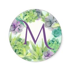 Shop Succulents Watercolor Monogram Classic Round Sticker created by happygotimes. Cactus Stickers, Round Stickers, Watercolor Design, Floral Watercolor, Succulent Wedding Invitations, Wedding Plants, Alphabet Wallpaper, Watercolor Succulents, Simple Wallpapers