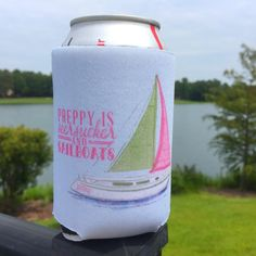 Seersucker Sailboat Koozie