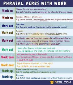 Useful Phrasal Verbs with WORK in English 2 English Grammar Rules, English Writing Skills, English Phrases, Grammar And Vocabulary, English Idioms, English Language Learning, English Lessons, English Vocabulary, Teaching English