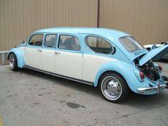 blue and white stretch volkswagen