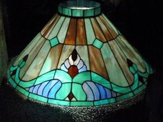 Hanging Stained Glass Green Purple Slag Shade Chandelier Tiffany Style Victorian