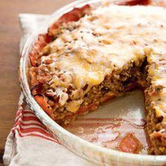 Crustless Tex-Mex Meatloaf-Cheddar Pie @keyingredient #cheese #pie #bread