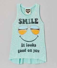 Take a look at this Mint 'Smile' Shades Tank - Girls by Modern Lux. gilrls with die for this tank.