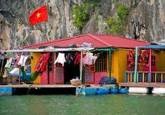 Boat House at Halong Bay, Vietnam,