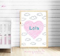 CUSTOM light PINK HEART baby illustration with personalized name.Custom Newborn gift.Wall Nursery room,Hearts Art Girls Babies,bedroom kids. Corazon ilustracion bebe, habtacion niñas,bebé niña,decoracion original pequeños,pared by MARAQUELA