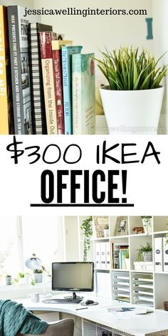 This modern inexpensive Ikea Office is the perfect work station It includes organization and storage hacks a Kallax bookshelf room divider and Ikea Home Office, Home Office Chairs, Home Office Space, Home Office Furniture, Furniture Ideas, Ikea Office Hack, Furniture Design, Ikea Kallax Bookshelf, Bookshelf Room Divider