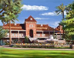 """""""This beautiful fountain is located on the west end of the University of Arizona campus. John and Peggy were engaged at this fountain 43 years ago and commissioned this painting to commemorate their anniversary. University Of Arizona Campus, Arizona Wildcats, And Peggy, West End, Tucson, Night Light, Fountain, Maine, Mansions"""