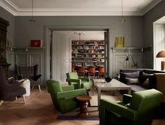 Ett Hem hotel in Stockholm, designed by Ilse Crawford. Gerrit Rietveld Utrecht armchairs and Hans J. Wegner Papa chairs. http://www.etthemst...