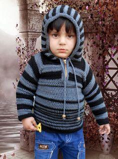 Crochet - Crosia Free Patttern Urdu, Hindi Video Tutorials: Crochet Hoodie Sweater