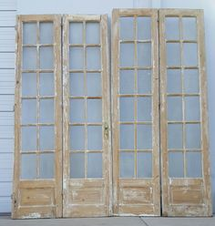 Set of 4 French Doors with 12 Glass Panes Set of 4 Wooden Doors with 12 Glass Panes Antique French Doors, Tiny Garden Ideas, Build Your House, Design Your Home, Architectural Salvage, Interior Barn Doors, Wood Doors, Slab Doors, Entry Doors