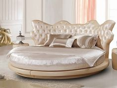 luxury-bedroom furniture round bed tufted headboard luxury bedding set decorative pillows - April 27 2019 at Luxury Bedroom Furniture, Modern Bedroom, Bedroom Decor, Dark Furniture, Furniture Dolly, Furniture Removal, Best Bed Designs, Beautiful Bed Designs, Latest Bed