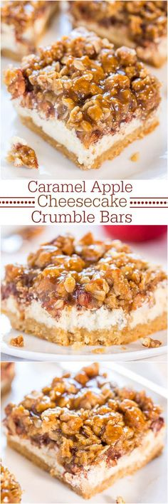 Caramel Apple Cheesecake Crumble Bars Recipe via Averie Cooks - Move over apple pie! These are an apple pie, apple crumble and cheesecake all in one! YUM!