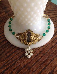 Vintage Keyhole Bracelet/ Antique Tintype Bracelet/ Rhinestone Charm Bracelet/ Beaded Bracelet/ Vintage Assemblage Jewelry on Etsy, $55.00