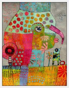 Elke Trittel acrylic collage on paper 50/65cm