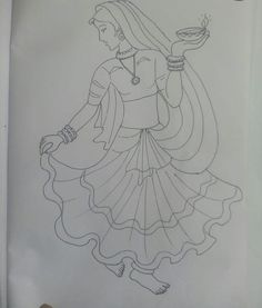 The world always seems brighter when you've just made something that wasn't there before Art Drawings Simple, Indian Art Paintings, Disney Art Drawings, Hand Embroidery Design Patterns, Embroidery Art, Fabric Painting, Drawing Sketches, Pencil Art Drawings, Art Drawings Sketches Simple
