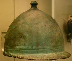 Roman helmet from the age of the Punic wars, now in the British Museum.    http://www.livius.org/a/battlefields/trasimene_lake/helmet_punic_wars.jpg